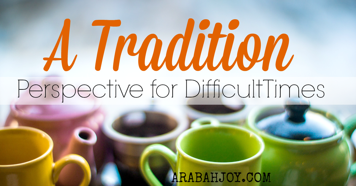 Are you going through a difficult time as a family? This gentle tradition has helped us through some really tough spots! It reminds us to remember the nature of our God who works all things together for good. A must read!!