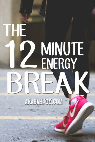Research shows there are small things we can do to keep our energy level sustained throughout the day. The 12-minute energy break is great for those times when you are feeling sluggish or fatigued. Twelve well-spent minutes can boost your energy and get you going again.
