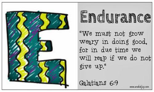 E is for Endurance prayer card