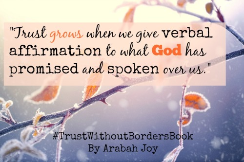 Trust grows when we give verbal affirmation to the promises of God. Trust Without Borders book by Arabah Joy