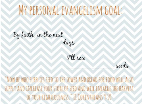 Set your own personal evangelism goal with this printable sheet
