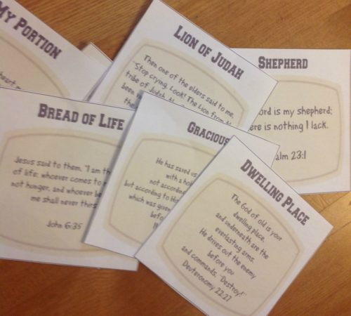 Free set of cards on the names and attributes of God