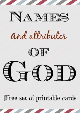 Grab this FREE set of 60 printable cards on the names and attributes of God