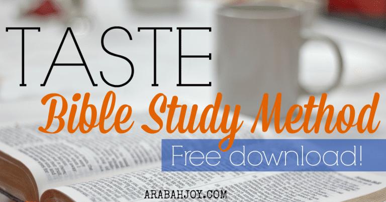 TASTE Bible Study Method {Free Download}