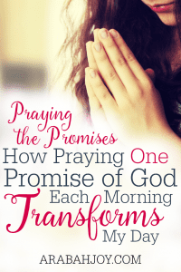 """About a year ago, I started a new spiritual discipline based on II Corinthians 1:20. Each morning, I tried to """"amen"""" one promise from God's word. See how praying ONE promise each morning can transform your day too."""