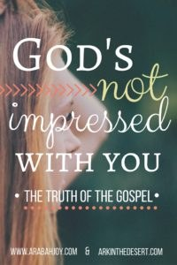 The truth is that we cannot fulfill the Law, only God can. He is not impressed with us outside of the work of His Son.