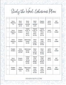 Bible Study Plan for the book of Ephesians. This six week plan will take you through the book using 7 different methods.