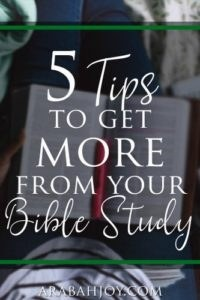 Open Bible on someone's lap with an overlay that reads 5 tips to get more from your Bible study