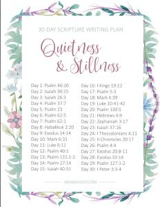 Bible reading plan for quietness and stillness