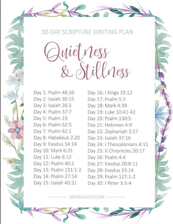 Bible reading plan for quietness and stillness