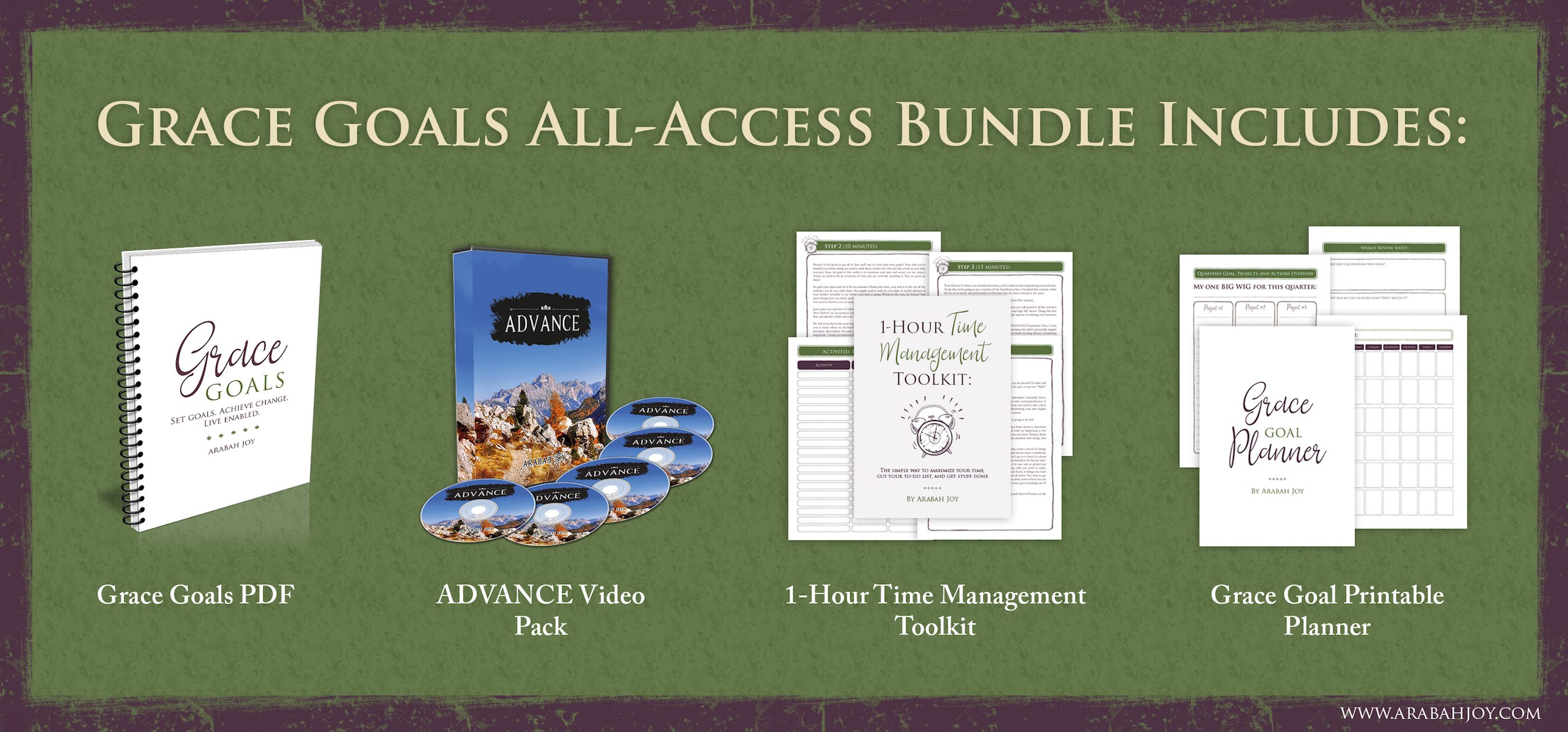 Grace Goals 2018 bundle includes videos, PDF, Time Management Toolkit, and a Goals Planner!