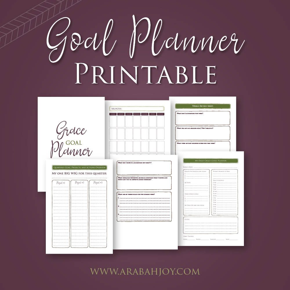 Grab Your Grace Goal Planner Pages FREE! #goals #goalprintable #planner