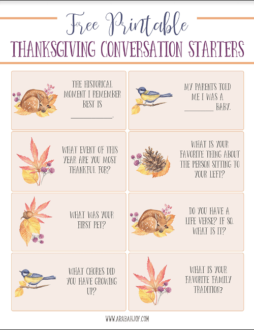 photo regarding Printable Conversation Cards identify Thanksgiving Communication Starters