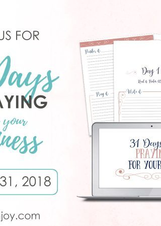 page with a computer screen and pages from prayer challenge called 31 days of praying for your business. Runs May 1-31, 2018