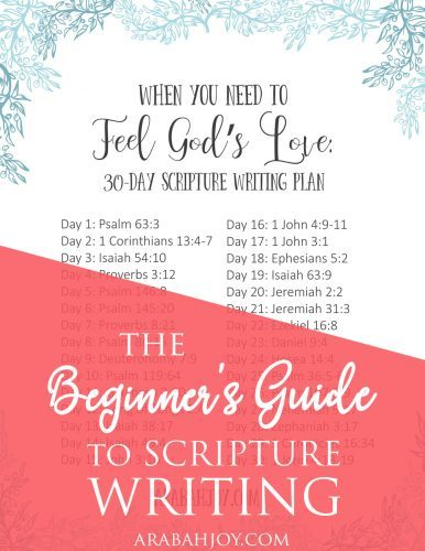 Do you do Scripture writing? Use our Scripture writing plan to focus on God's love during the next 30 days.