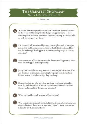 page one of a family discussion guide for The Greatest Showman movie
