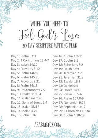 image of 31 days of Bible verses with a title that reads When You Need to Feel God's Love Scripture Writing Plan