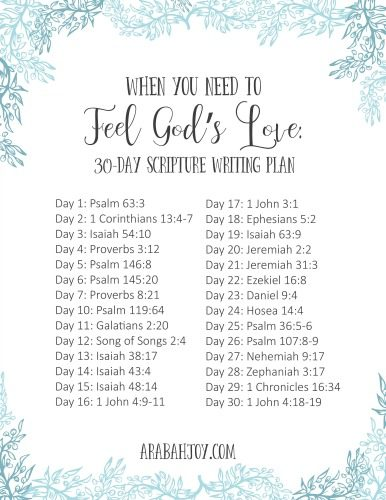 List of 30 days with Scripture references to write out. Title reads When You Need to Feel God
