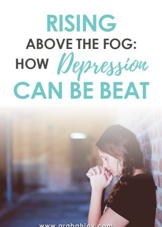 woman standing against a wall with hands folded and eyes closed in prayer posture, with an overlay that reads Rising Above the Fog: How Depression Can be Beat