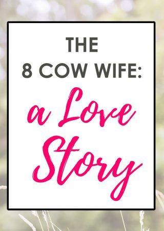 a background image with an overlay that reads The 8 Cow Wife: a Love Story