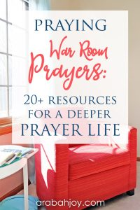See how praying war room prayers will help you in going deeper in prayer. See our full list of prayer resrouces.