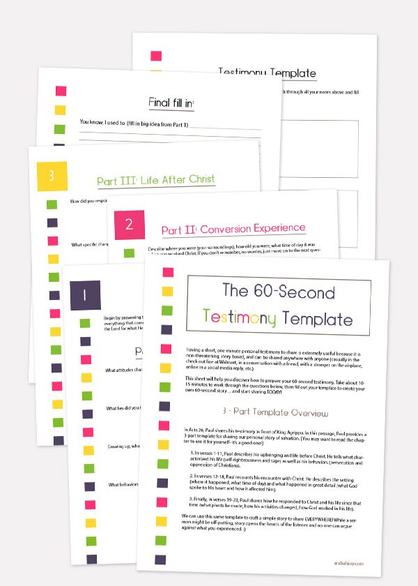 The 60-Second Testimony Template is an easy way to learn to share your faith without fear. Grab your copy here. #personalevangelism #spiritualgrowth #faithbuilding
