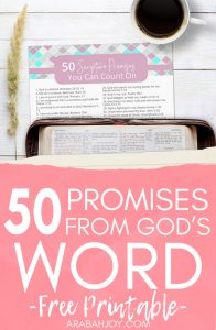 FREE Printable: List of 50 Favorite Promises from God's word